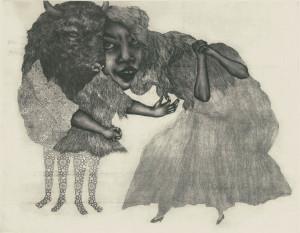 La femme ermite, Gravure, eau-forte, aquatinte, vernis mou et pointe sèche sur papier Tosa Washi. 40cmx50cm.