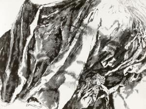 Sans titre, fusain sur papier marouflé, 72 x 97 cm, 2013